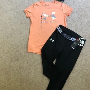 Youth large under armour tee & leggings NWT